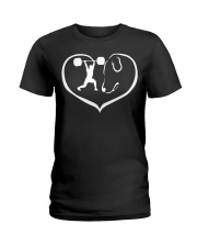 easily distracted by weight lifting and dog  Ladies T-Shirt thumbnail
