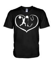 easily distracted by weight lifting and dog  V-Neck T-Shirt thumbnail