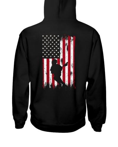 Lacrosse man USA flag 2 sides printed