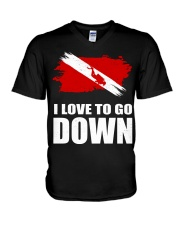 SCUBA DIVING GO DOWN V-Neck T-Shirt thumbnail
