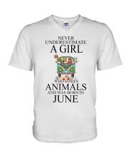 hippie girl-june V-Neck T-Shirt thumbnail