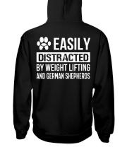 Easily distracted weightlifting GermanShepherd  PT Hooded Sweatshirt back