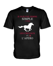 cheval-femme simple apero V-Neck T-Shirt thumbnail