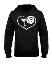 easily distracted by wine and volleyball  Hooded Sweatshirt front