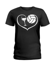 easily distracted by wine and volleyball  Ladies T-Shirt thumbnail