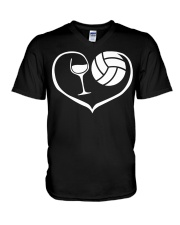 easily distracted by wine and volleyball  V-Neck T-Shirt thumbnail