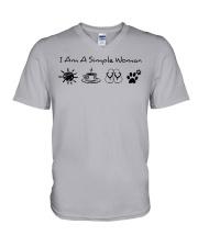 dog - simple woman sunshine V-Neck T-Shirt thumbnail