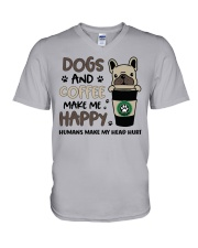 Dogs and coffee make me happy V-Neck T-Shirt thumbnail