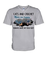 Cats And Crochet - Make Me happy PT V-Neck T-Shirt thumbnail