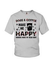 dogs and coffee make me happy Youth T-Shirt thumbnail