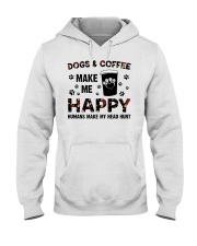 dogs and coffee make me happy Hooded Sweatshirt front