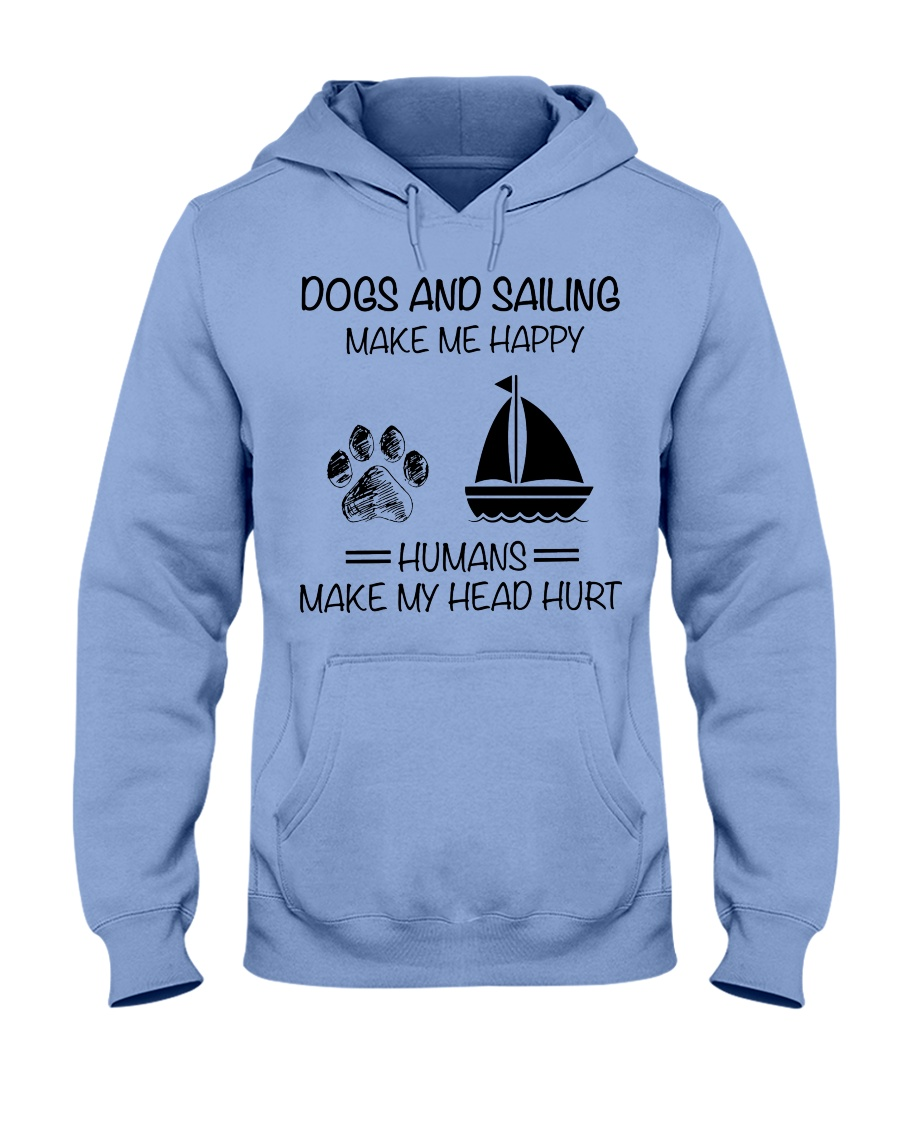dogs-sailing make me happy Hooded Sweatshirt