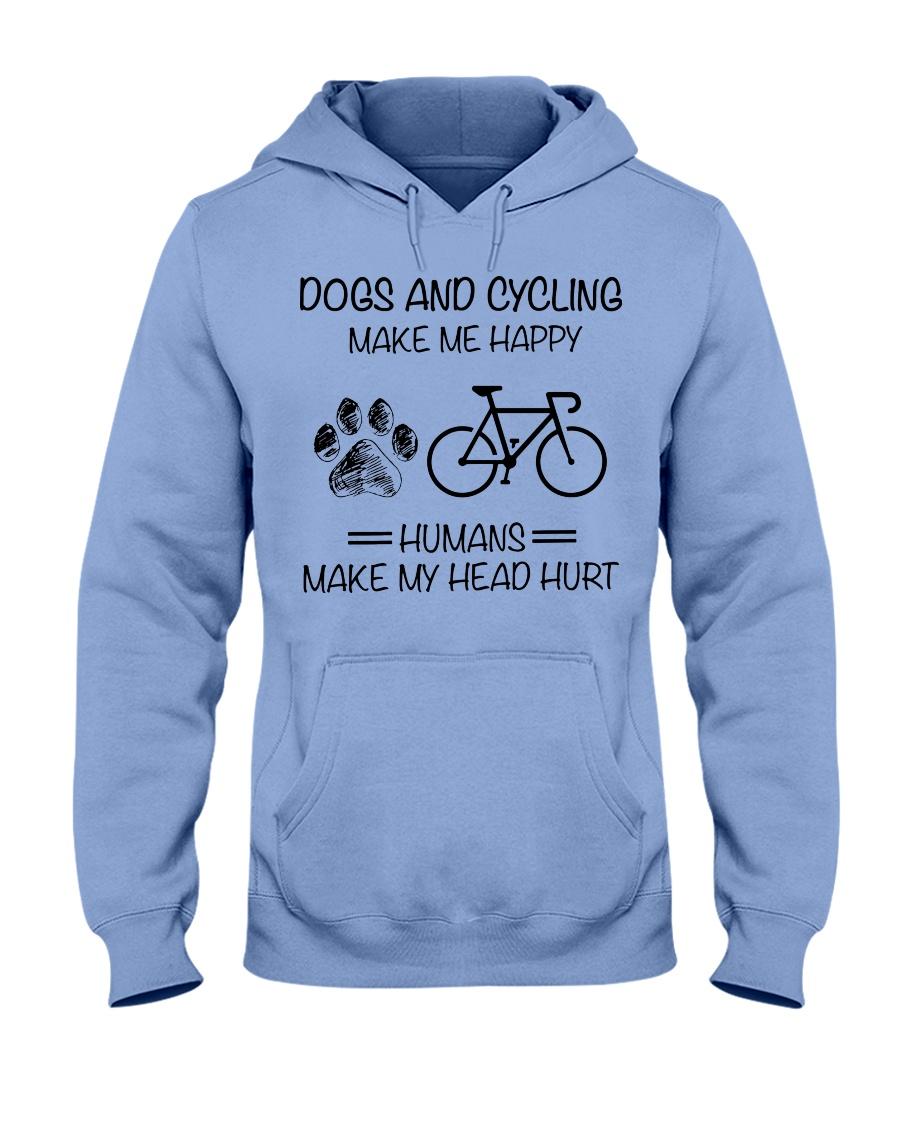 dogs-cycling make me happy Hooded Sweatshirt