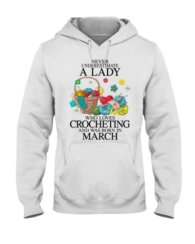 A lady loves crocheting March