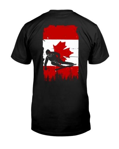 Ski man Canada flag 2 sides printed