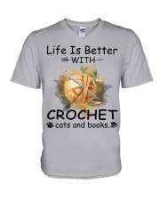 Life Is Better - Crochet V-Neck T-Shirt thumbnail