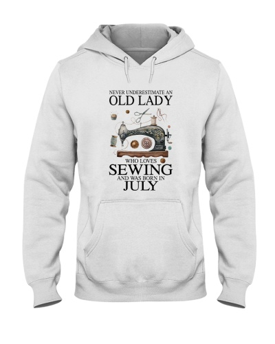Old lady loves sewing and was born in July