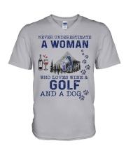 Never Underestimate A Woman - Golf V-Neck T-Shirt thumbnail