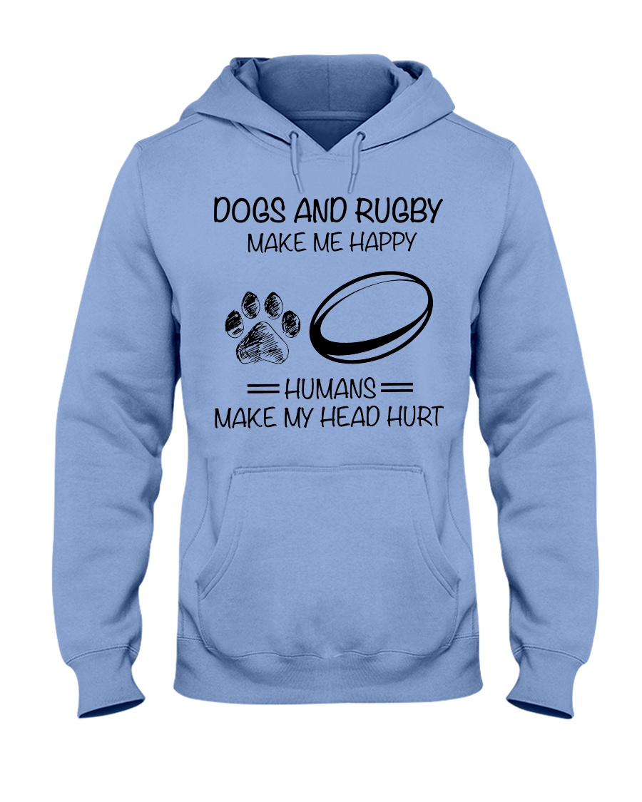 dog-rugby make me happy Hooded Sweatshirt