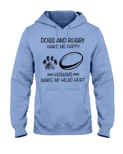 dog-rugby make me happy Hooded Sweatshirt front