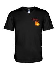 Michigan USA Flag sunset pine tree 4PT V-Neck T-Shirt thumbnail
