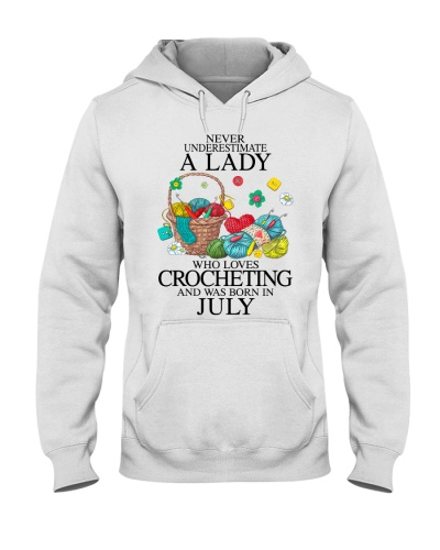 A lady loves crocheting July