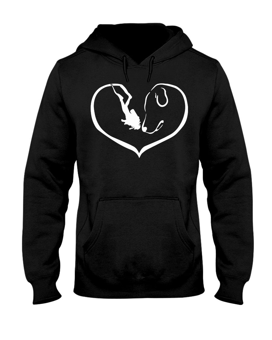 easily distracted by scuba diving and dog 0012 Hooded Sweatshirt