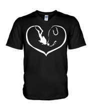 easily distracted by scuba diving and dog 0012 V-Neck T-Shirt thumbnail