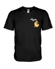 Michigan USA Flag campfire PT V-Neck T-Shirt thumbnail