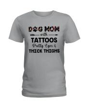 dog mom with tattoos Ladies T-Shirt thumbnail