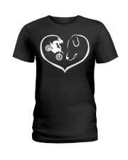 easily distracted by motocross and dog  Ladies T-Shirt thumbnail