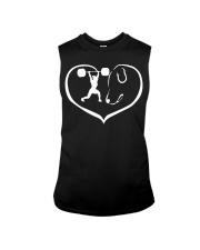 easily distracted by weight lifting and dog PT Sleeveless Tee thumbnail