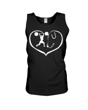 easily distracted by weight lifting and dog PT Unisex Tank thumbnail