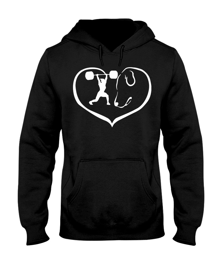 easily distracted by weight lifting and dog PT Hooded Sweatshirt