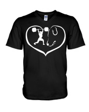 easily distracted by weight lifting and dog PT V-Neck T-Shirt thumbnail