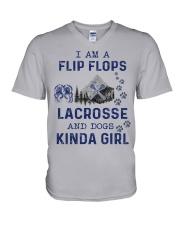 I Am A Flip Flops Kinda Girl - Lacrosse V-Neck T-Shirt thumbnail