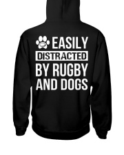 easily distracted by rugby and dog  Hooded Sweatshirt back