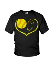 easily distracted by softball and dog-pt  Youth T-Shirt thumbnail