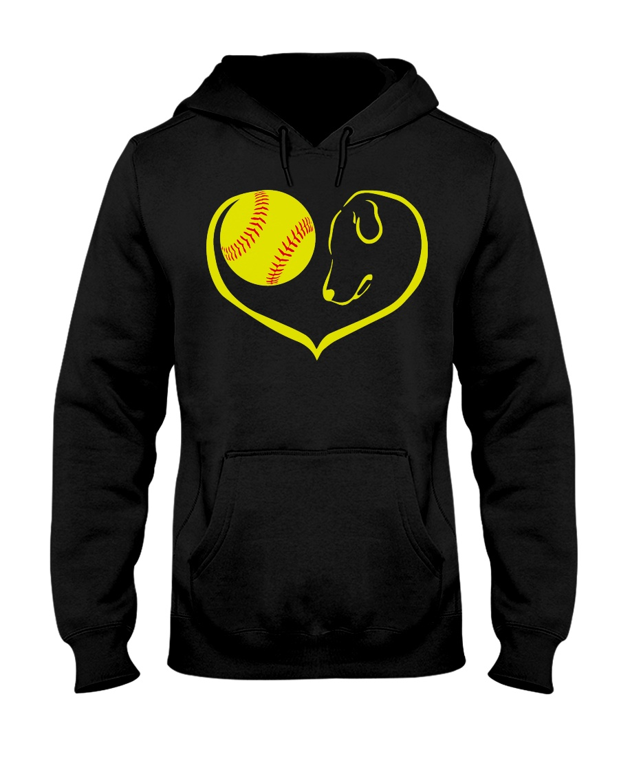 easily distracted by softball and dog-pt  Hooded Sweatshirt