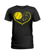easily distracted by softball and dog-pt  Ladies T-Shirt thumbnail