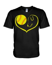 easily distracted by softball and dog-pt  V-Neck T-Shirt thumbnail
