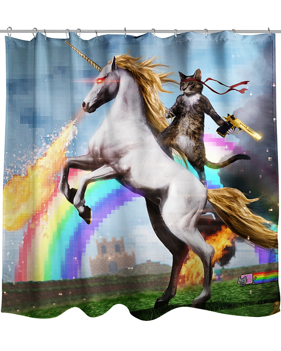 Colorful Art Cat Riding Horse Pixel Rainbow  Shower Curtain