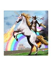 Colorful Art Cat Riding Horse Pixel Rainbow  Square Coaster thumbnail