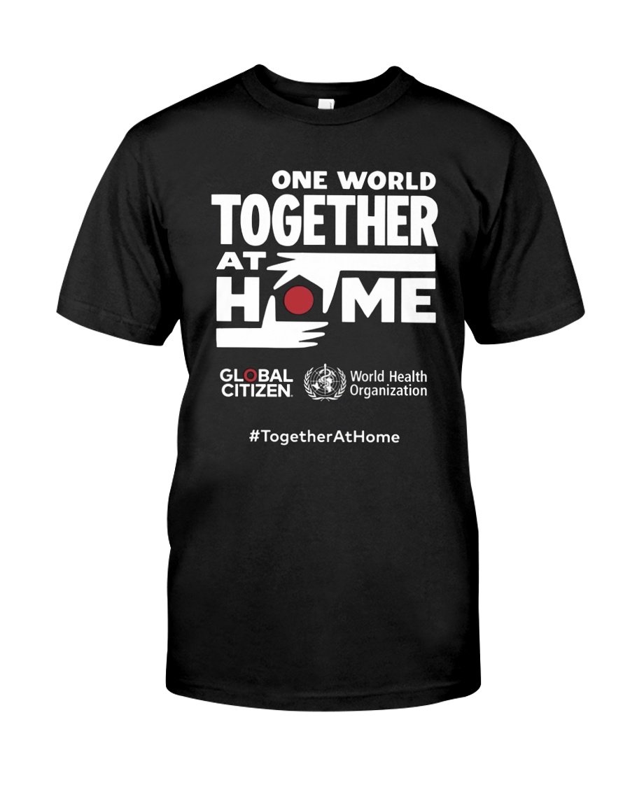 Official One World Toghther At Home T Shirt Premium Fit Mens Tee