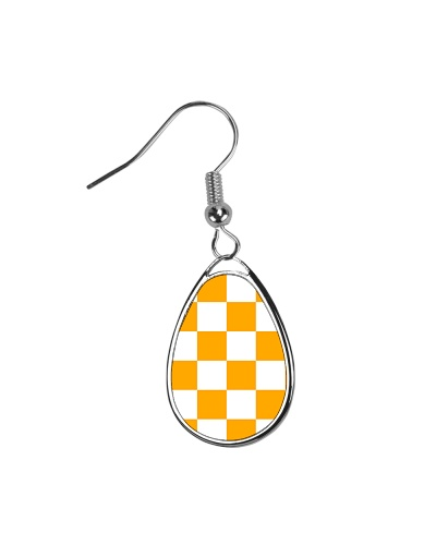 Orange and White Checkered Earrings