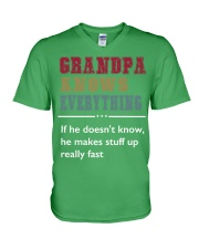 GRANDPA KNOWS EVERYTHING V-Neck T-Shirt tile