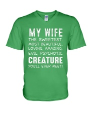 MY WIFE THE SWEETEST MOST BEAUTIFUL V-Neck T-Shirt thumbnail