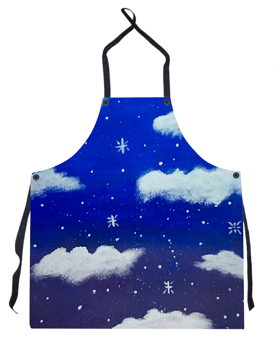 Blue sky misty clouds Apron