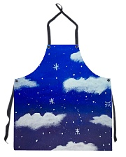 Blue sky misty clouds Apron front