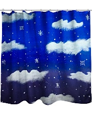 Blue sky misty clouds Shower Curtain thumbnail